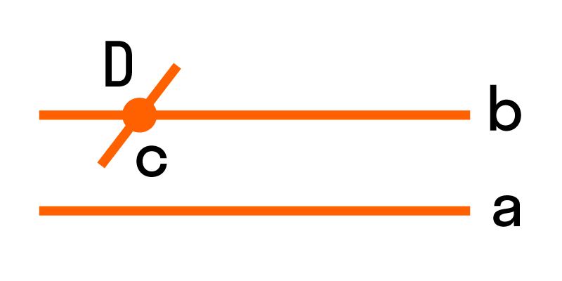 прямая, которая пересекает одну параллельную прямую, обязательно пересекает и другую