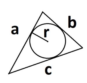 площадь треугольника с радиусом вписанной окружности