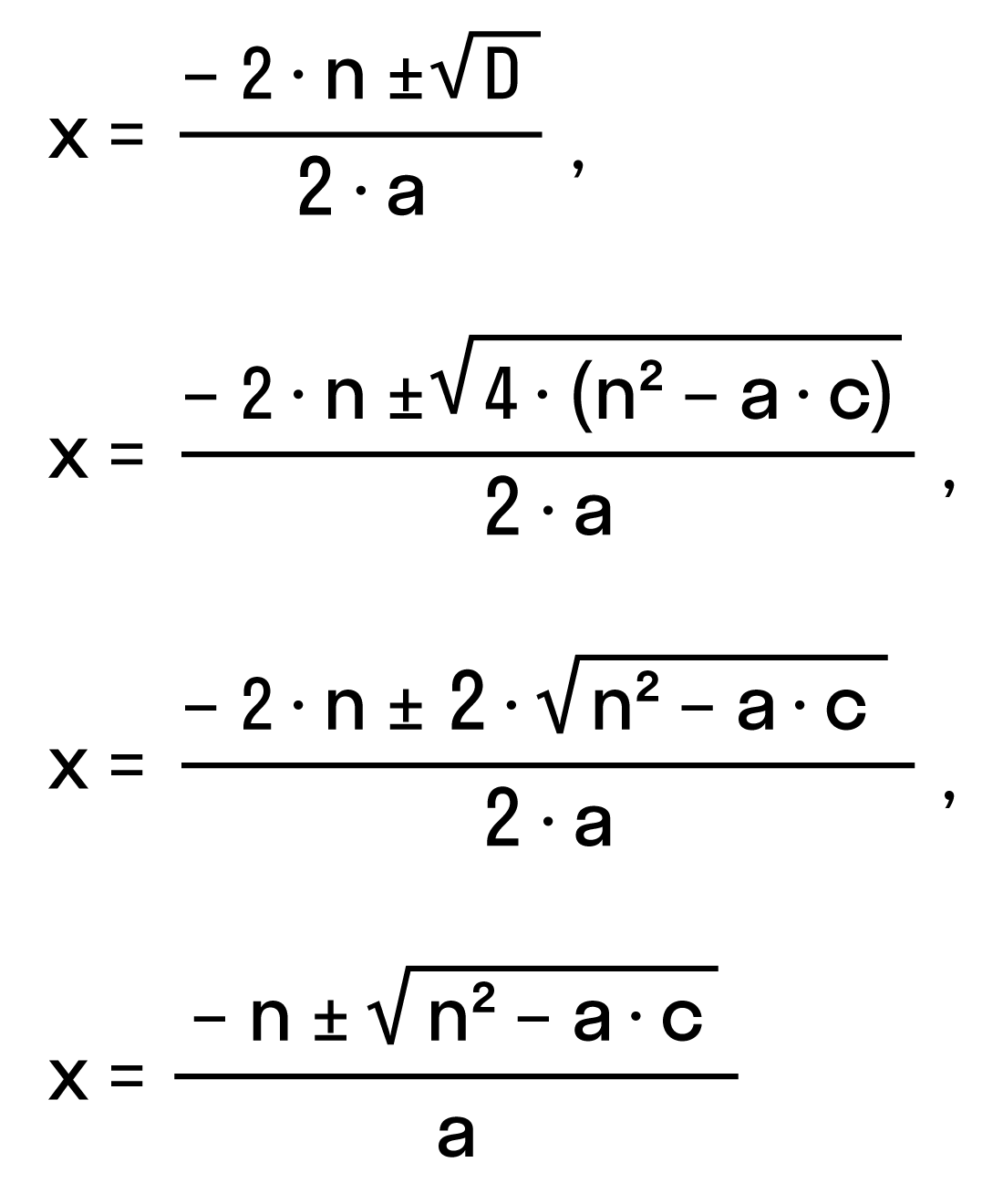 решение квадратного уравнения ax<sup>2</sup> + 2nx + c = 0