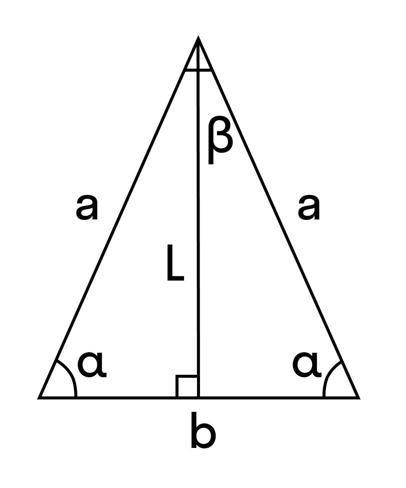 Формулы высоты, медианы, биссектрисы равнобедренного треугольника