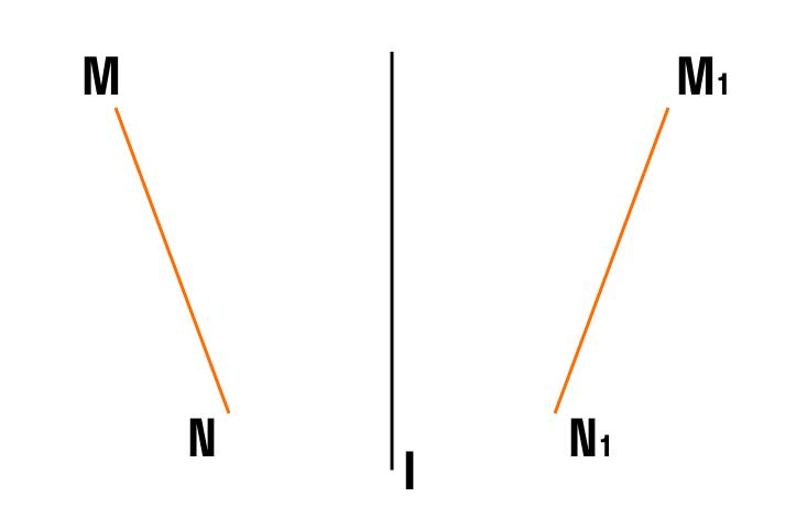 Докажите симметричность отрезка