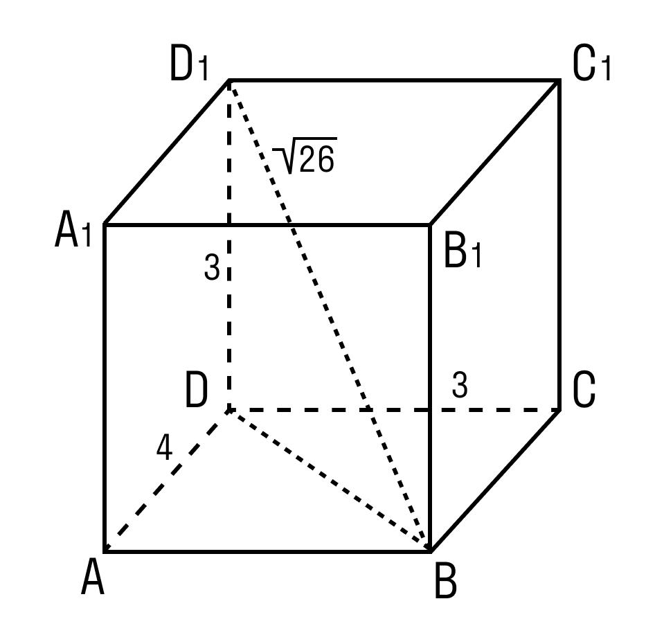 Задача на нахождение длинны ребра прямоугольного параллелепипеда