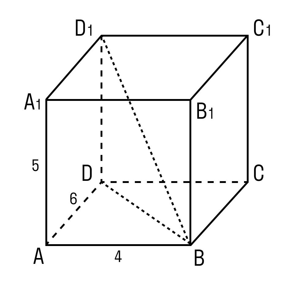 Задача на нахождение отрезка BD прямоугольного параллелепипеда