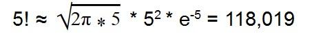 Пример использования формулы Стирлинга