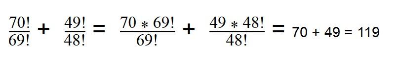 Решение сложного выражения с факториалами