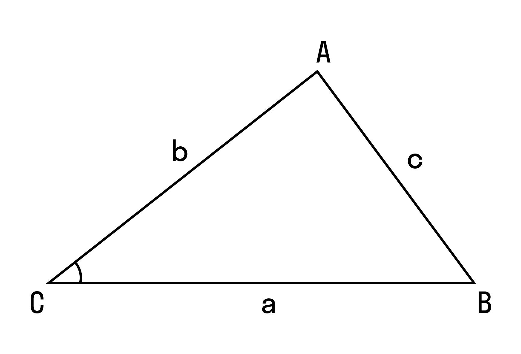Если c2 < a2 + b2, то ∠C — острый