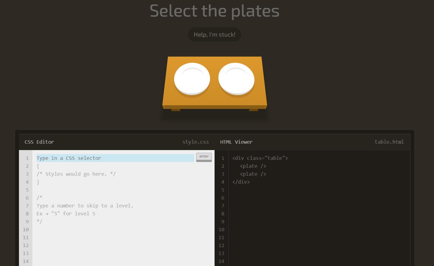 Игра CSS Diner — скриншот